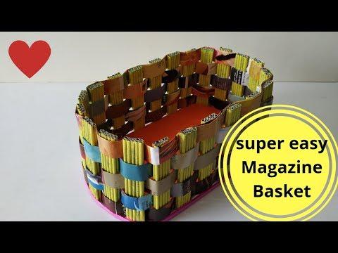How to make storage basket with magazine || Magazine Recycling || DIY || IRIS Craft Corner 30