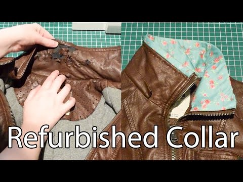 Refurbished Collar on a Faux Leather Jacket