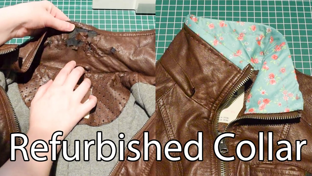 Refurbished Collar On A Faux Leather Jacket Youtube