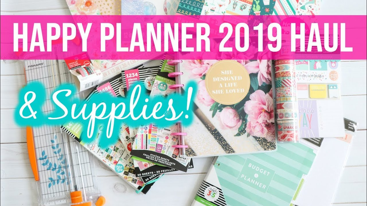 photo about Planner Supplies referred to as Pleased Planner 2019 and Planner Products Haul