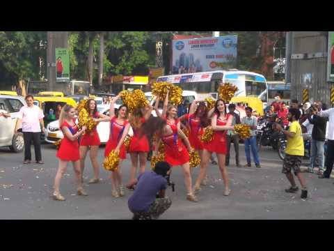 RCB cheer girls dancing at mg road bangalore