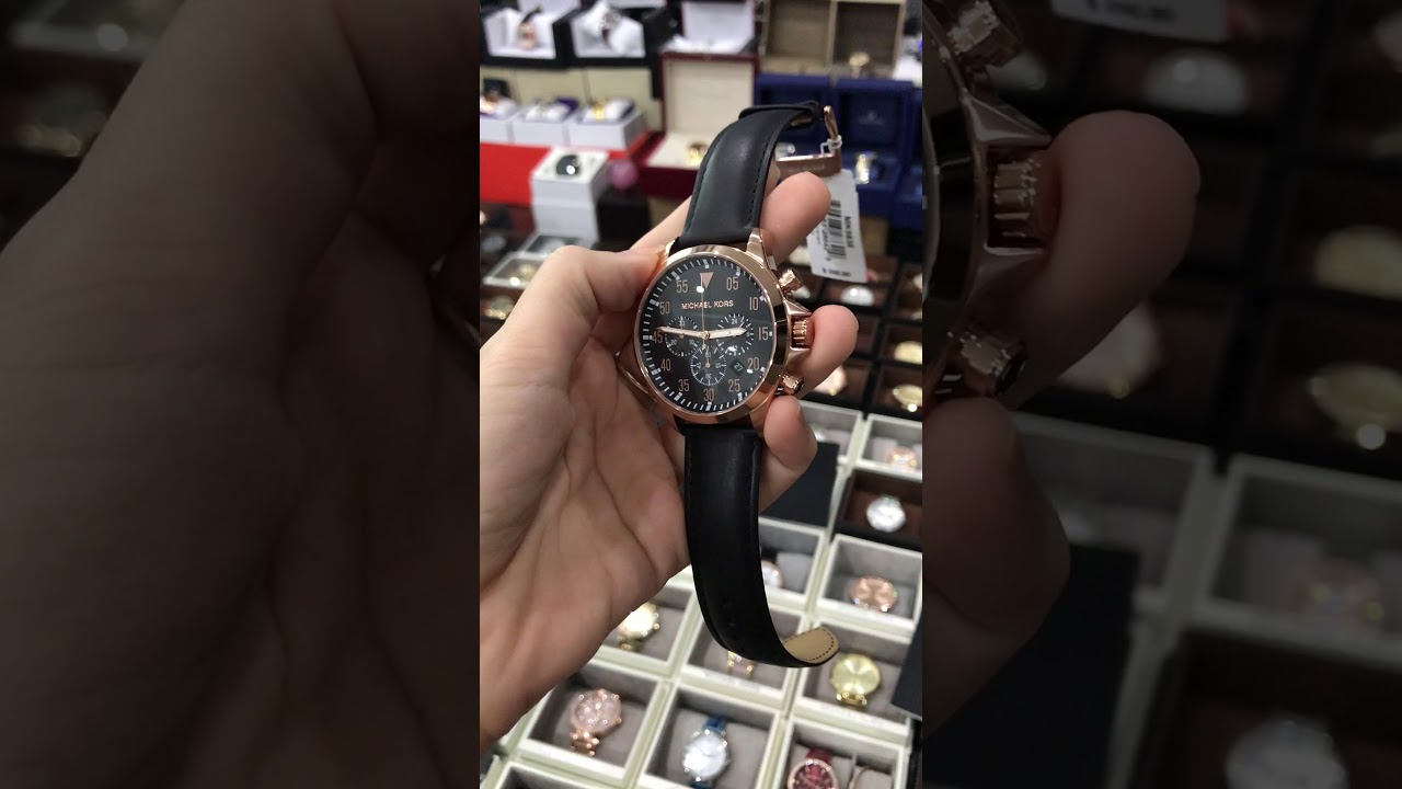 f9723b1bb8bb Michael Kors MK8535 Gage Rose Gold Black Dial Brown Leather 45MM ...