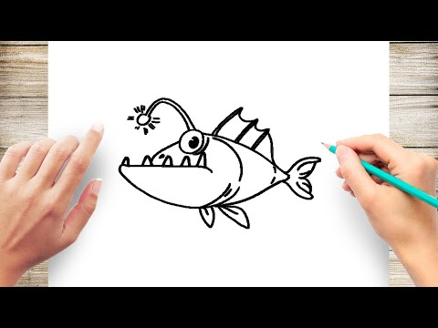 How To Draw An Angler Fish Step By Step