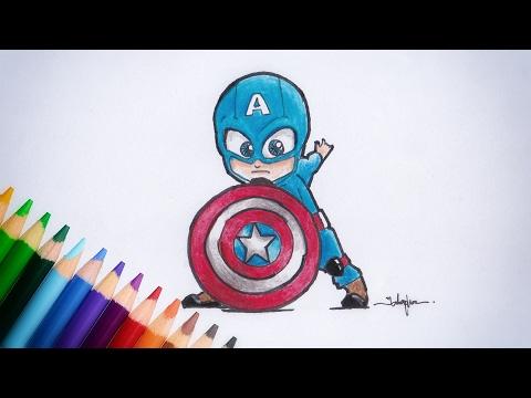 สอนวาดรูป ระบายสี | กัปตันอเมริกา อเวนเจอร์ (จิบิ) How to draw cartoons | Captain america chibi