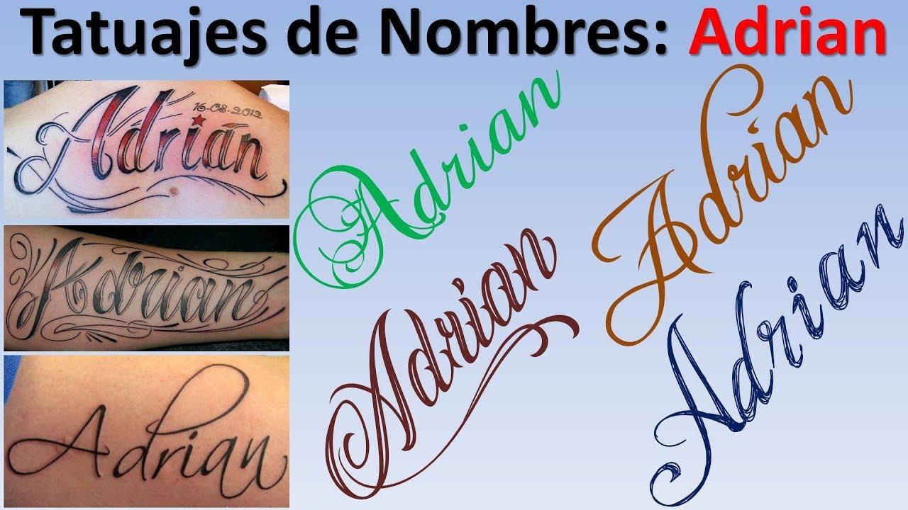 Tatuajes y Diseos de nombres Adrian YouTube