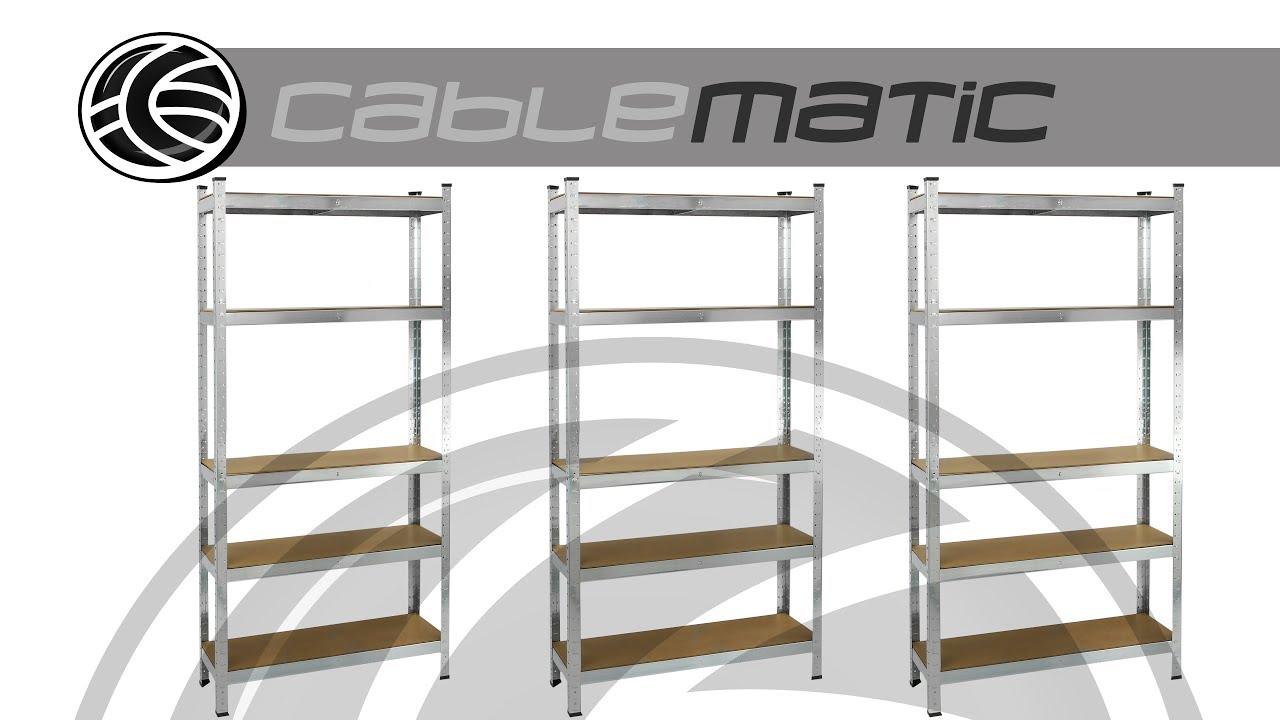 Estanteria metálica galvanizada para almacenar de 5 baldas de madera -  distribuido por CABLEMATIC ® 30071106bf31
