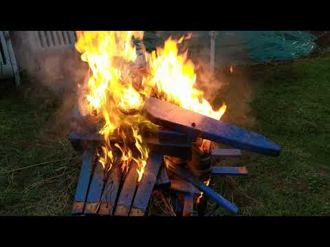 Dismantling And Burning A Wooden Adirondack Chair Wearing Hot Beat Timberland Boots-2