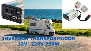 Como tener 200W Electricidad a 220V en Coche Caravana Transformador Inversor 200W 12VDC-220VAC