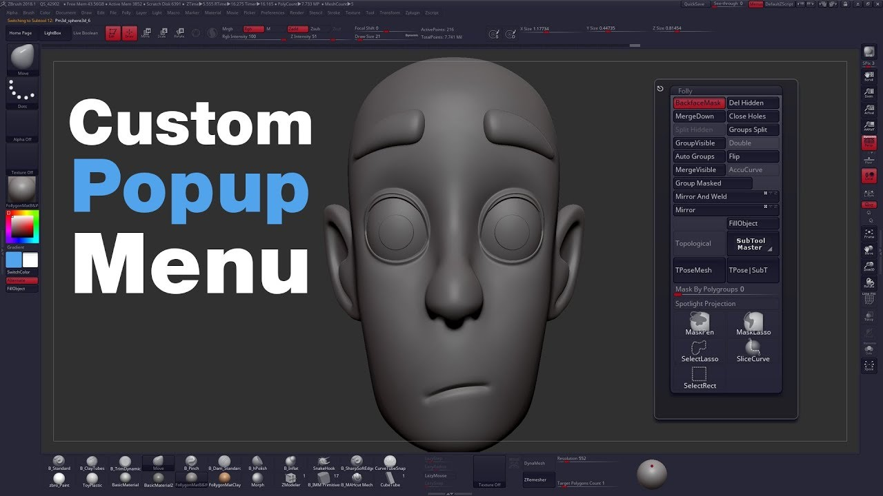 How To Create A Custom Popup Menu In ZBrush