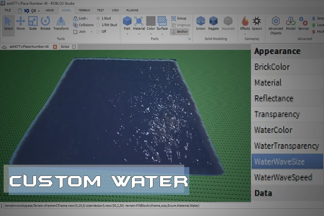 Roblox Custom Water Tutorial Youtube