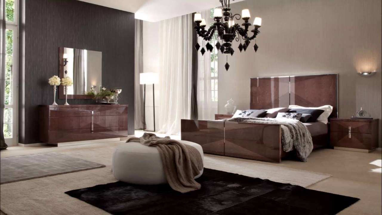 Sensual Bedroom Decoration With Black Modern Bed Interior Design Ideas