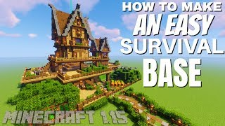 How to make a Base in Minecraft Survival with Everything: A Great Survival Base idea: Minecraft 1.15