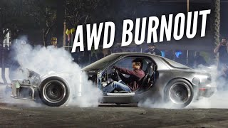 AWD BURNOUT IN MY 1000HP 4 ROTOR RX-7!
