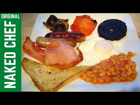 English Cooked Christmas Breakfast How to cook Recipe - egg bacon sausage fry up food