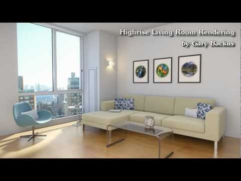 Highrise Living Room - Architectural Rendering - 1080p Workflow Montage