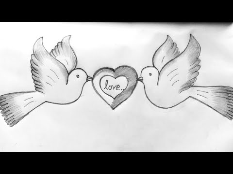 HOW TO DRAW TWO DOVES WITH LOVE SIGN