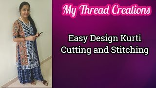 Easy Design Kurti Cutting and Stitching #DIY #kurticutting # kameezcutting at home step by step