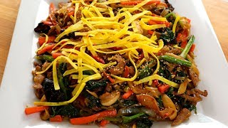 Easy japchae, Korean stir-fried noodles and vegetables (잡채)