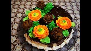 Украшение торта ШОКОЛАДНЫМ ГАНАШЕМ и БЗК мандариновый торт НЕЖНЫЙ , ЛЁГКИЙ  и очень ВКУСНЫЙ тортик
