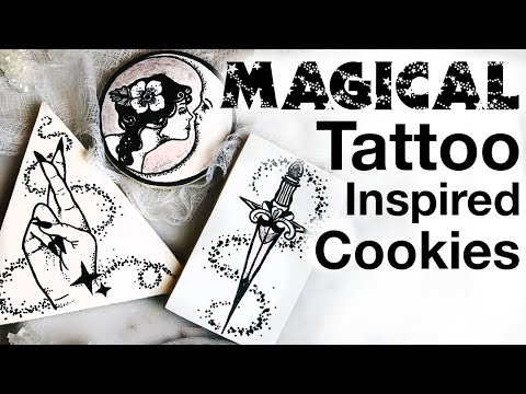 Magical Tattoo Inspired black and white Painted Cookies -  with Free PDF Download