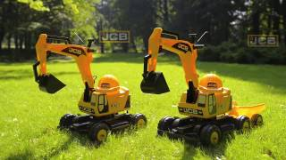 Ride-on / JCB Excavator with trailer / 115  + 115A / by Falk Toys / Made in France