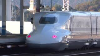 山陽新幹線・16両編成博多行きの福山駅出発風景