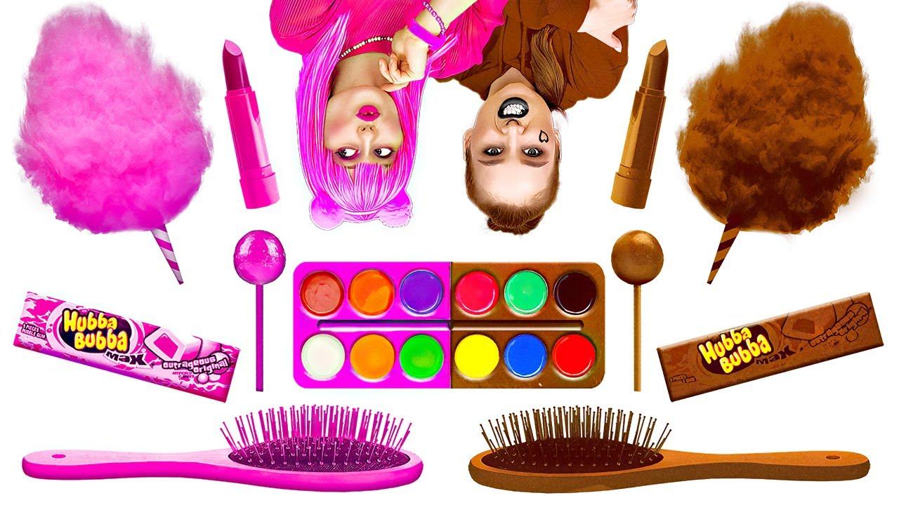 착한 여자 VS 나쁜 여자 초콜릿 퐁듀 챌린지!    123 Go LIKE! 초콜릿 음식 vs 진짜