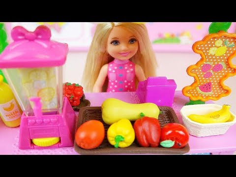 Baby doll fruit juice shop and Ice cream shop toys baby doli play