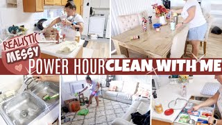 REALISTIC MESSY POWER HOUR CLEAN WITH ME | SPEED CLEANING | CLEANING MOTIVATION