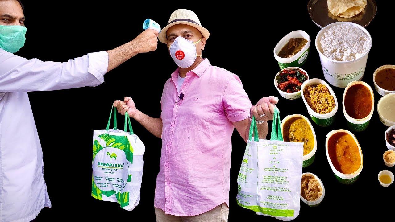 ANDHRA Lunch Lockdown Takeaway | NAGARJUNA Veg Meals | Chilly Chicken, Sholay Kebab | Rerun Episode