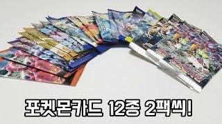 포켓몬카드 12종류 팩 뽑기 도전!  EX카드 GX카드 뽑기! | 훈토이TV