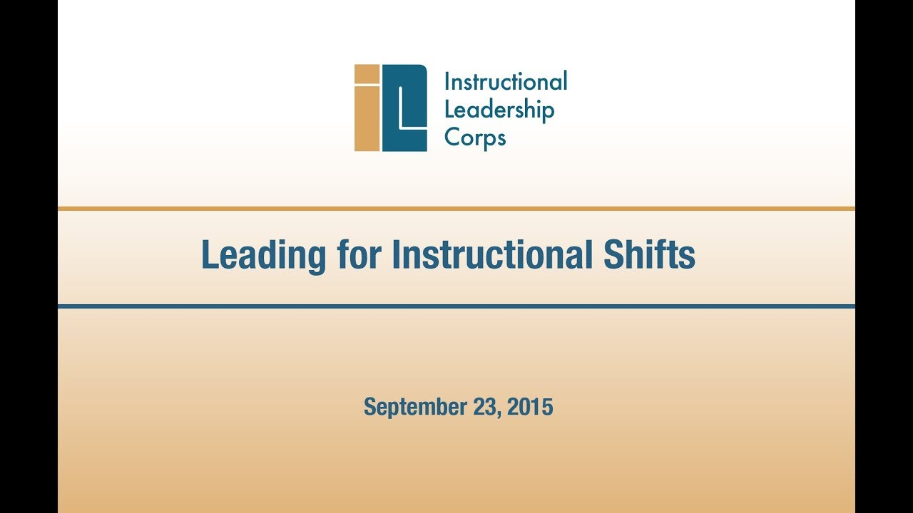 Leading For Instructional Shifts Youtube
