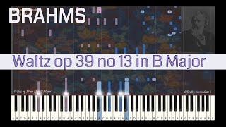 Johannes Brahms - Waltz op 39 no 13 in B Major | Synthesia Piano Tutorial | Library of Music
