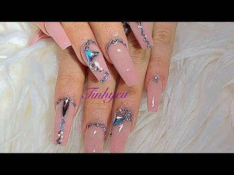 how to do full set acrylic nail and put diamond on your