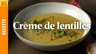 Crème de lentilles au curry et aux poireaux
