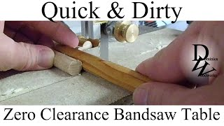 Quick & Dirty Zero Clearance Bandsaw Table