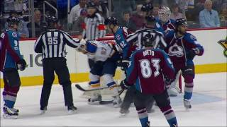 Landeskog loses his balance, kicks Perron in junk