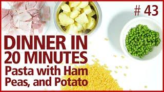 Pasta, Ham Peas And Potato Recipe. Traditional Italian Dish, Easy, Fast (piselli E Patate E Cotto)