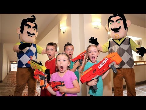 Nerf Battle:  Payback Time vs Twin Hello Neighbor Part 3 (Trinity and Beyond Saves the Day) - Видео онлайн