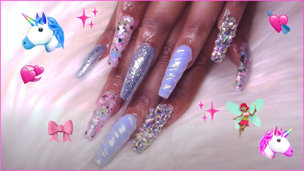 Winter Unicorn Glitter Chrome Bling Acrylic Nails Fullset
