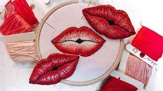Вышивка гладью. Стильная вышитая брошь Поцелуй. Научись вышивать со студией рукоделия Твори!