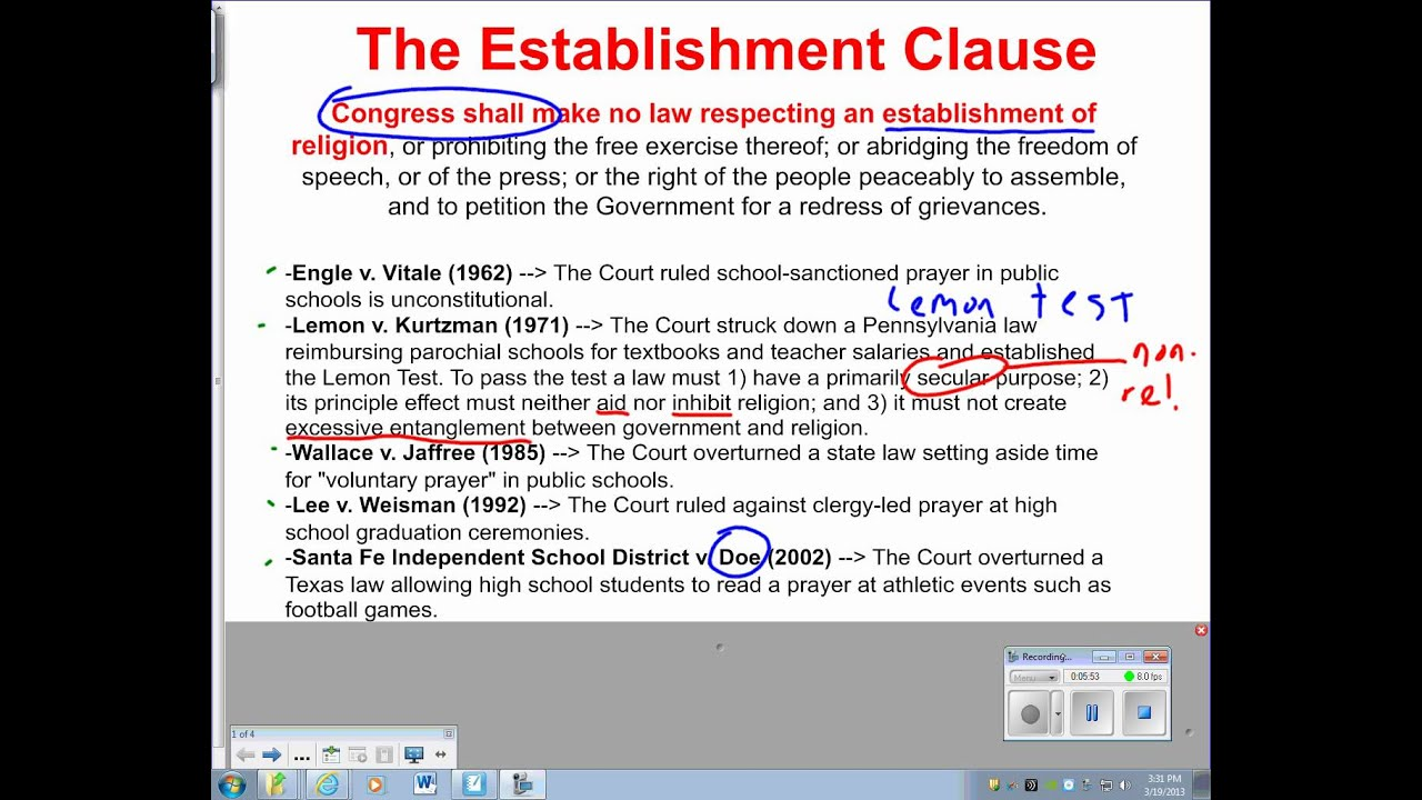 what is the establishment clause and the free exercise clause