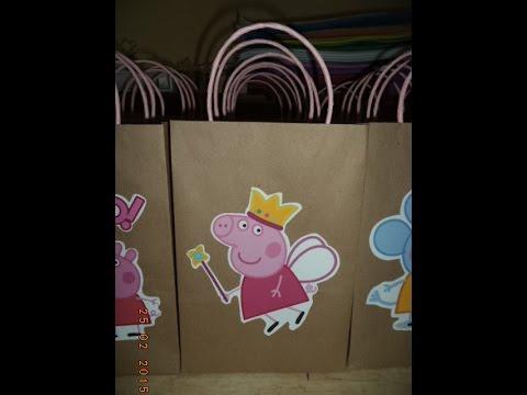 Como hacer bolsas de papel para sorpresa de peppa pig - Hacer bolsas de papel en casa ...