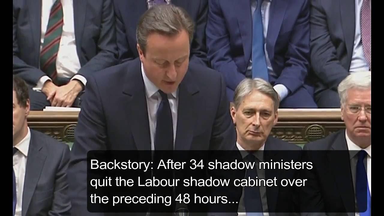 David Cameron & Shadow Cabinet Resignations joke in Parliament ...