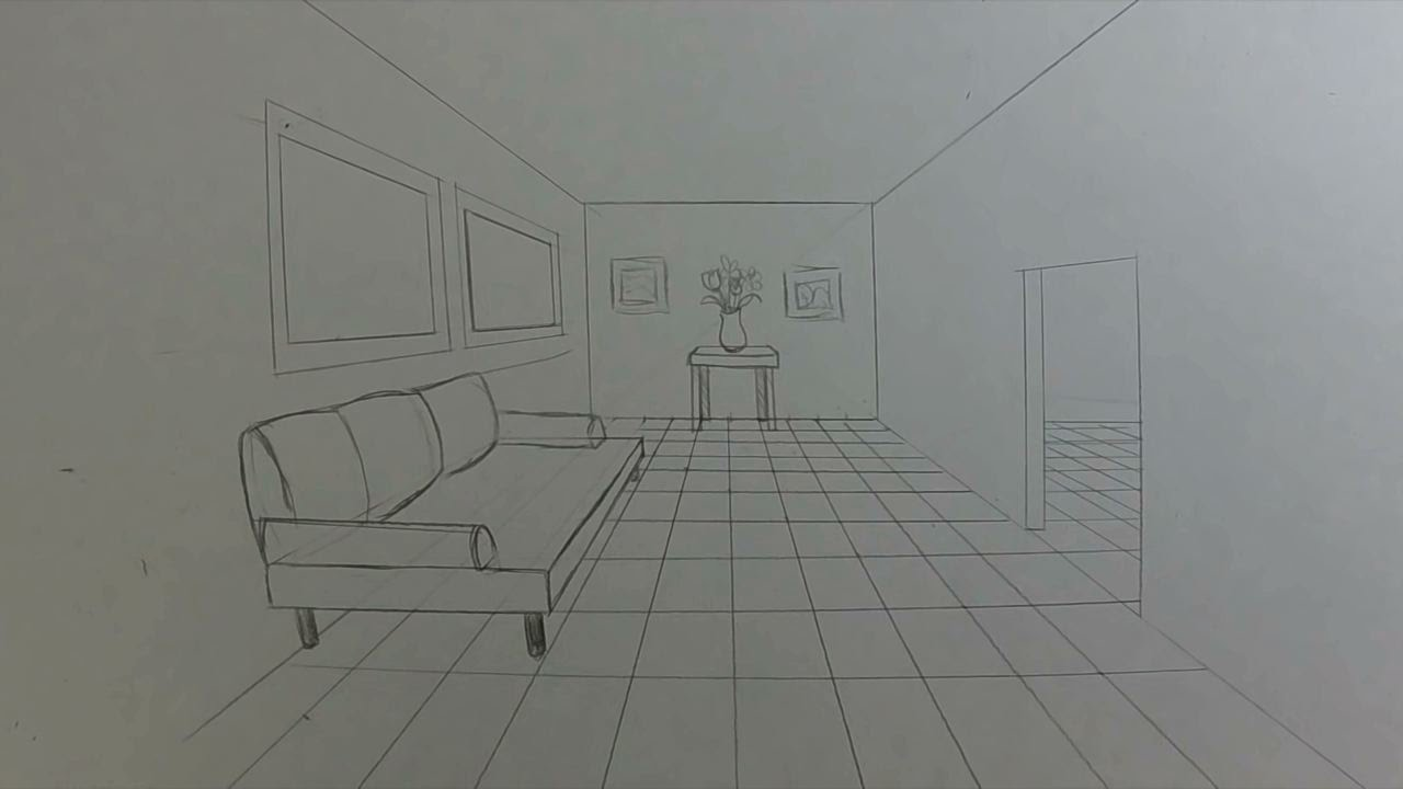 How to draw a room in 1 point perspective youtube - One point perspective drawing living room ...