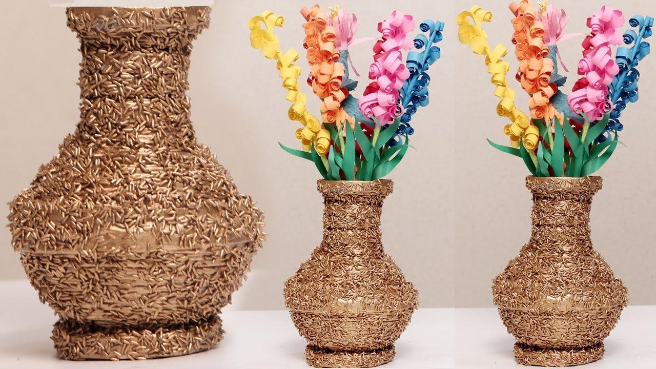 Amazing Diy Using Newspaper And Rice Make A Flower Vase Diycrafts Youtube