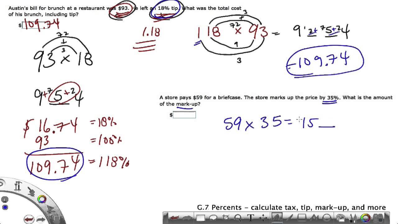 IXL Grade 6 G.7 Percents - calculate tax, tip, mark-up - YouTube