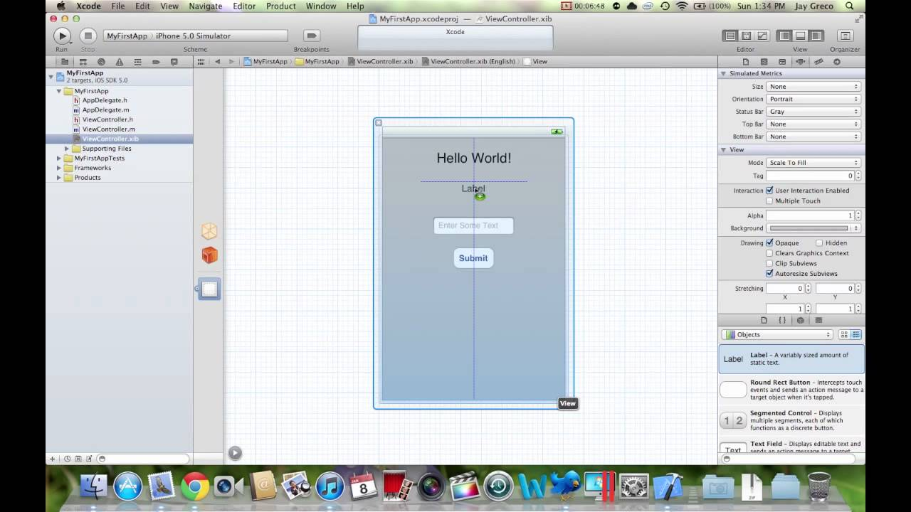 how to make ios apps intro to xcode 4 building your first app youtube. Black Bedroom Furniture Sets. Home Design Ideas