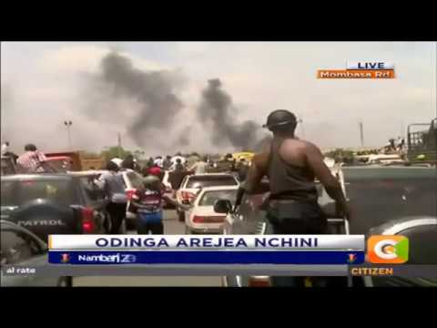 Raila Odinga entourage on the Mombasa Road