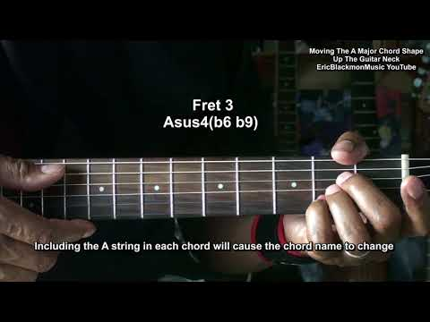 Moving Guitar Chord Shapes Up The Guitar Neck - A Major + Names Of Every One
